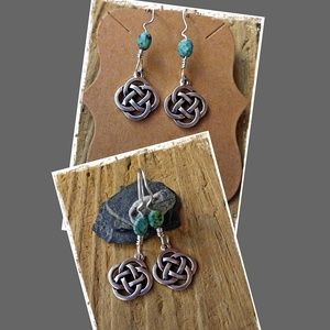 SILVER CELTIC KNOT & AFRICAN TURQUOISE EARRINGS